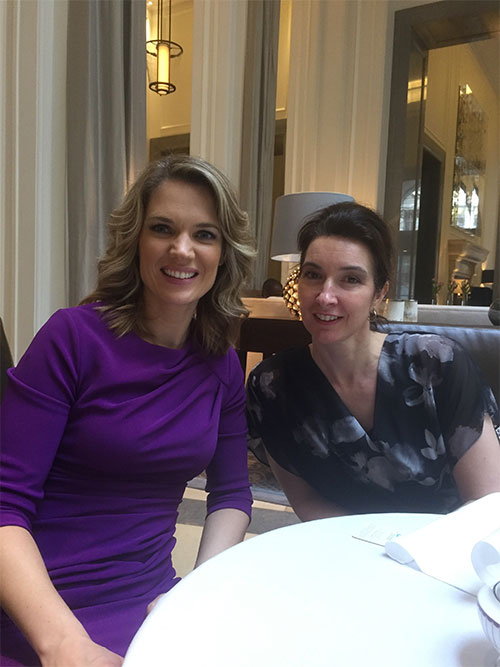 ITV Good Morning Britain Presenter and Patron of ellenor, Charlotte Hawkins (left) and Partner of Martin Tolhurst Solicitors, Jane Williams (right) enjoy discussions about the firms ambitious fundraising plans to reach 20K target for ellenor charity this year
